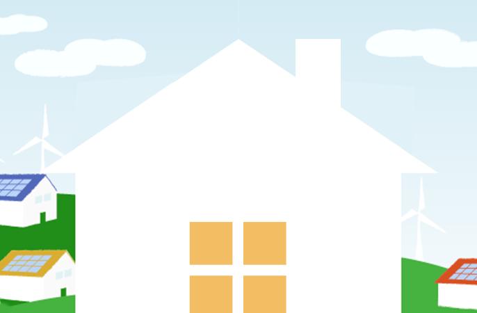 HEMS連携をイメージした、家のイラスト画像です。