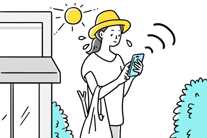 Đây là hình ảnh minh họa một người phụ nữ sử dụng máy điều hòa không khí trên điện thoại thông minh khi vắng nhà.
