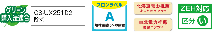 各種ロゴ3(グリーン購入法適合<CS-UX251D2除く>,フロンラベルA,北海道電力推薦あったかエアコン,東北電力推薦暖房エアコン,ZEH対応 区分い)