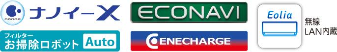 各種ロゴ1(ナノイーX、フィルターお掃除ロボットAuto、エコナビ、エネチャージ、エオリアアプリ〔無線LAN内蔵〕)