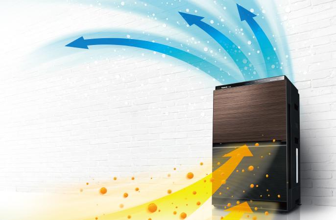 壁際に設置された空気清浄機が、花粉を吸い込んで綺麗な空気を送り出しているイメージ画像です。クリックすると該当ページに移動します。