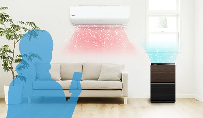 パナソニックのエアコン「エオリア」と空気清浄機を連携して同時運転している様子です。