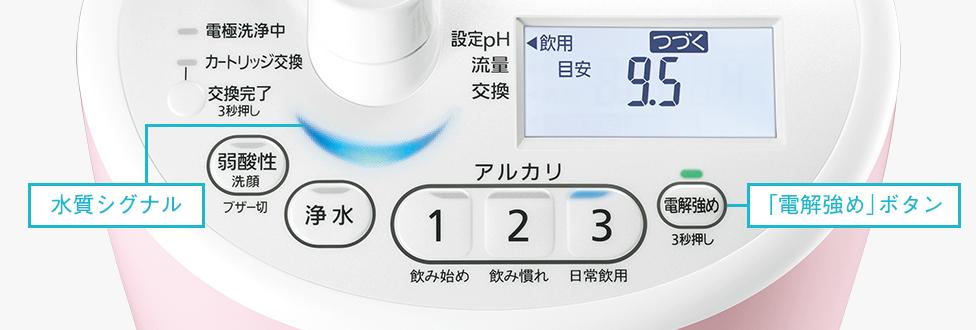 説明図:TK-AS46 操作パネル部分(水質シグナル、「電解強め」ボタン)