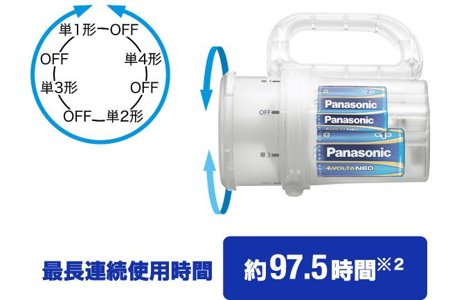 「電池がどれでもライト BF-BM10」の最長連続使用時間は約97.5時間