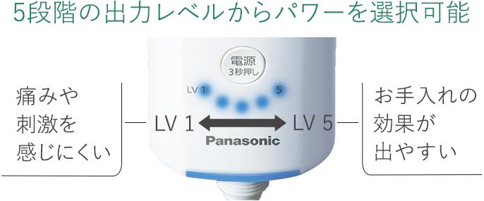 5段階の出力レベルからパワーを選択可能,[LV1]痛みや刺激を感じにくい,[LV5]お手入れの効果が出やすい
