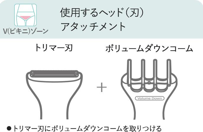 V(ビキニ)ゾーン,使用するヘッド(刃)・アタッチメント,トリマー刃,ボリュームダウンコーム