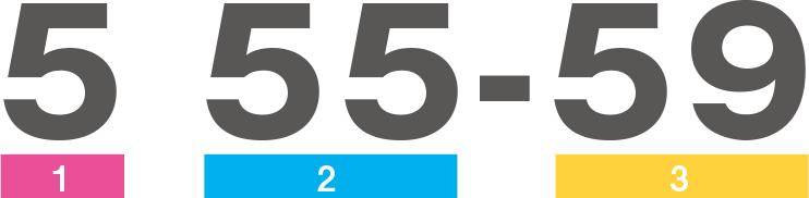 (例)5 55-59の場合