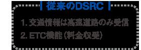 「従来のDSRC」1.交通情報は高速道路のみ受信 2.ETC機能(料金収受)