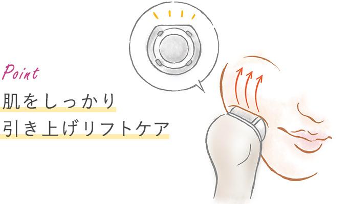 【トップフラット形状の場合】ポイント 肌をしっかり引き上げ 肌を引き上げてリフトケア