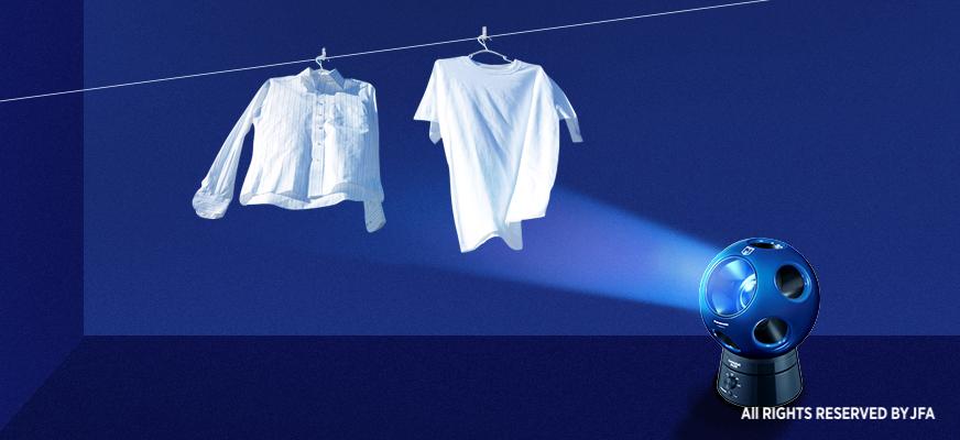 汗で濡れた衣類を乾かせるの画像です。Qが衣類を乾かしています。