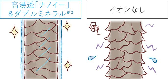 【イラスト】高浸透「ナノイー」&ダブルミネラル※3とイオンなしを使用した髪のキューティクル状態差比較