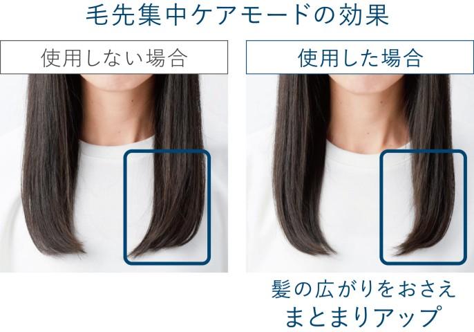 【写真】毛先集中ケアモードを使用した場合と使用しない場合の比較。使用した方が髪の広がりがおさまり、まとまりアップ。