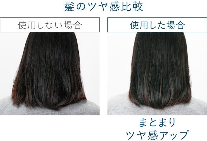 【写真】使用した場合としない場合の髪のツヤ感比較。使用したほうがまとまり、ツヤ感アップ