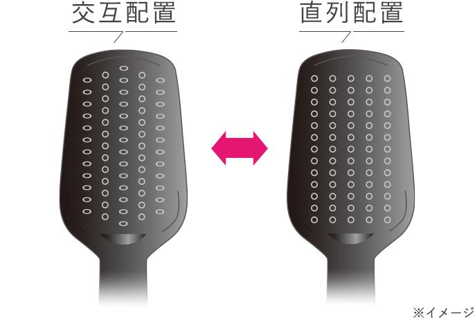 イメージ:交互配列と直列配列のブラシの違い
