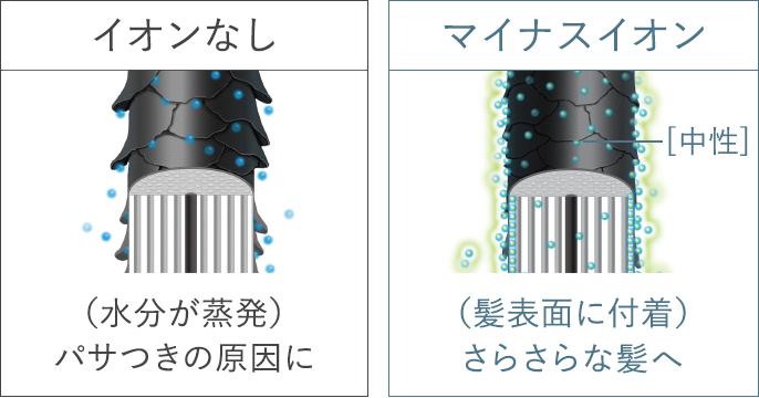 イオンなしの場合:水分が蒸発、パサつきの原因に,マイナスイオンありの場合:髪表面に付着、さらさらな髪へ