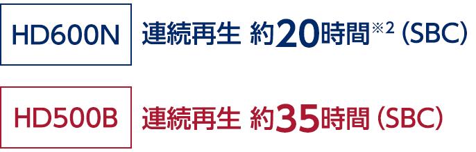 HD600N:連続再生 約20時間※2(SBC)/HD500B:HD500B