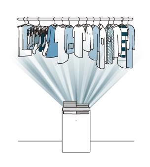 衣類乾燥除湿機が部屋干ししている洗濯物に風を送っているイラストです。