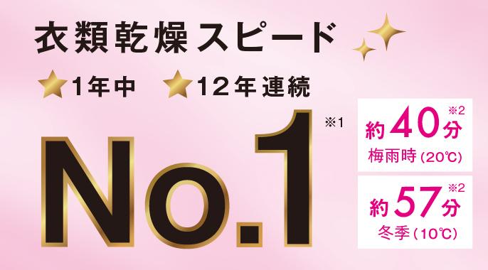 衣類乾燥スピード1年中12年連続No.1※1