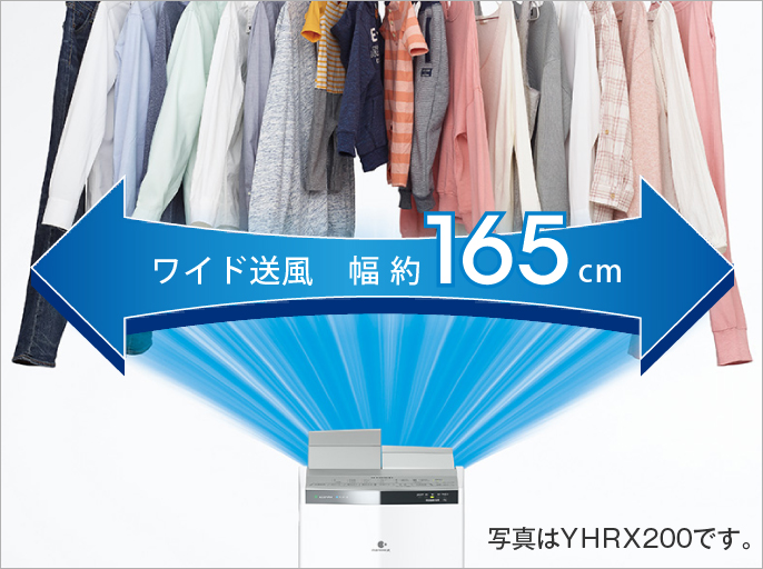 ワイド送風の画像です。衣類乾燥除湿機から干している衣類に向かって風を送っています。