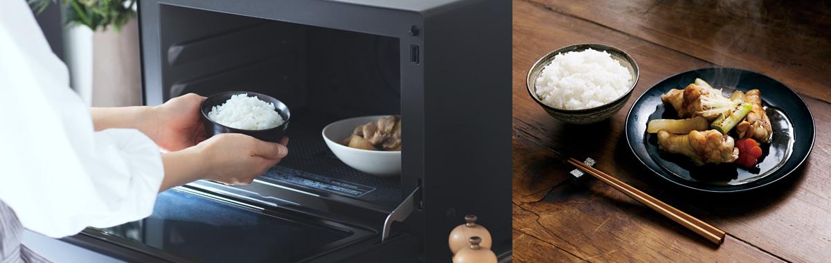 あたため・解凍のメインビジュアルです。レンジにご飯と肉じゃがを入れている画像、あたためたごはんとおかず。