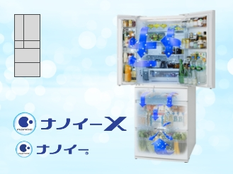 庫内にナノイーまたはナノイーXが行き渡っているイメージ画像です
