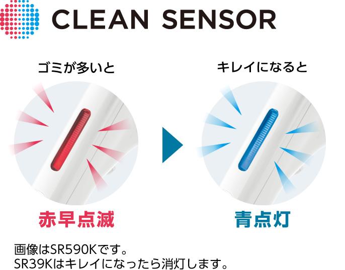 クリーンセンサーの点灯イメージ:ゴミが多いと赤早点滅、キレイになると青点灯。(SR39Kはキレイになると消灯)