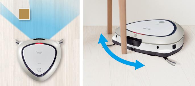 3種類の障害物検知センサーで、キワまでしっかり掃除するルーロの画像です。