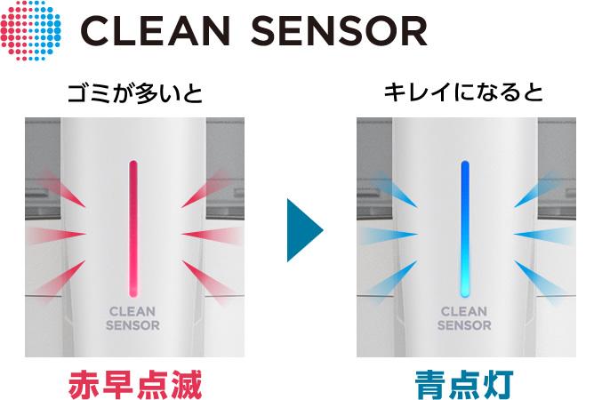 クリーンセンサーのランプ部分の写真:ゴミが多いと赤早点滅し、キレイになると青点灯