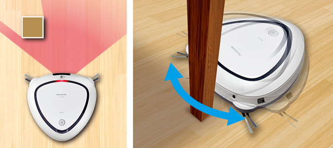3種類の障害物検知センサーで、キワまでしっかり掃除