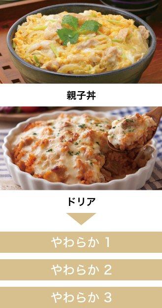 親子丼・ドリアには、やわらか1、やわらか2、やわらか3がおすすめです。