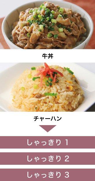 牛丼・チャーハンには、しゃっきり1、しゃっきり2、しゃっきり3がおすすめです。
