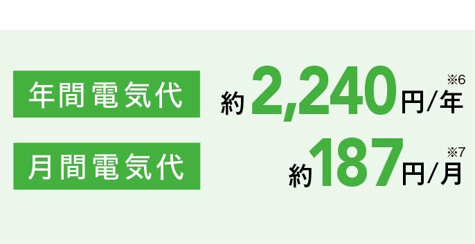 年間電気代が約2,240円(※6)、月間電気代が187円(※7)