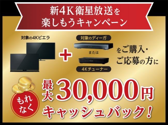 パナソニックで「新4K衛星放送」を楽しもうキャンペーン、最大30,000円キャッシュバック!ビエラ15周年コンテンツも公開!