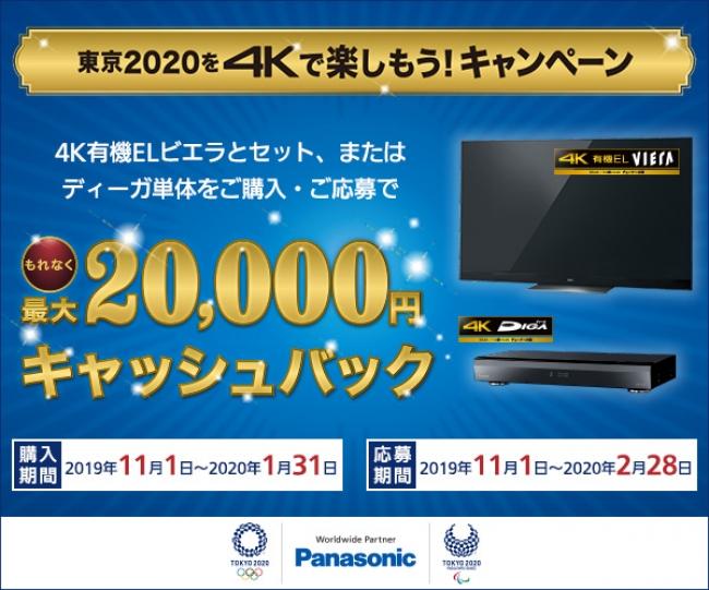 パナソニックの4Kで、東京2020を楽しもう!最大20,000円キャッシュバックキャンペーン