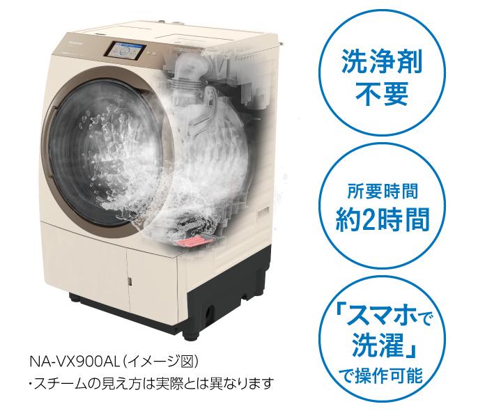 洗浄剤不要,所要時間約2時間,「スマホで洗濯」で操作可能,NA-VX900AL(イメージ図),スチームの見え方は実際とは異なります