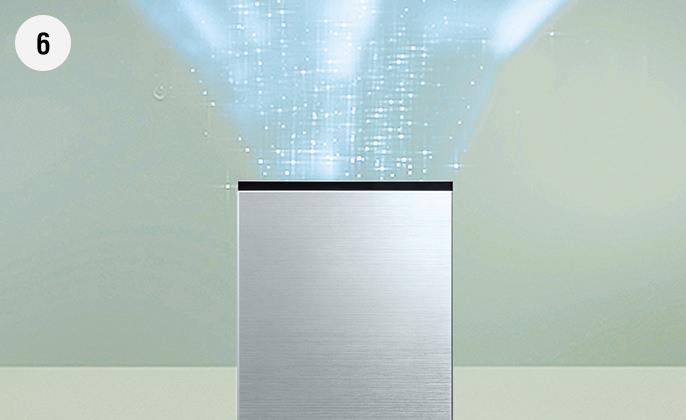 キレイになった空気とともに揮発した次亜塩素酸を放出している画像です。
