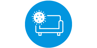 菌が家具に付着しているアイコンです