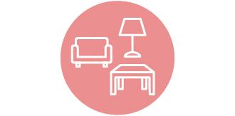 ソファ、机、ランプのアイコンです